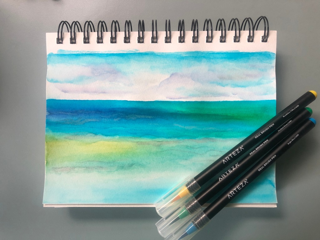 Watercolor painting of the ocean